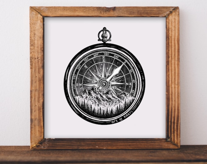 Mountain Compass Art Print