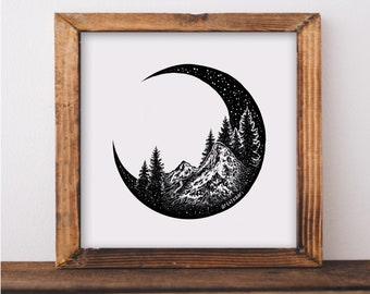 Mountains and Forest Crescent Moon Art Print