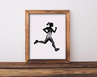 Female Runner Mountainous Silhouette Art Print