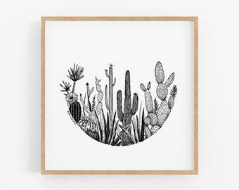 Cacti Circle Art Print