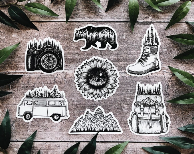 Adventure Sticker Pack (set of 7 vinyl sticker decals)
