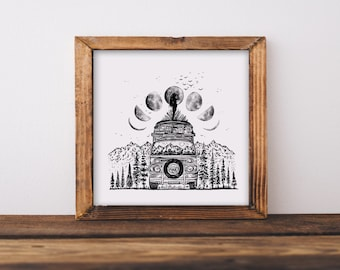 Van + Moon Phases Art Print