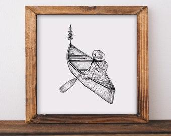Canoe Tree Girl Fine Art Print