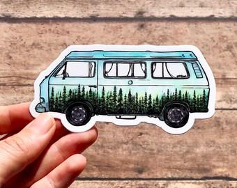 Watercolor Forested VW Van Vinyl Sticker