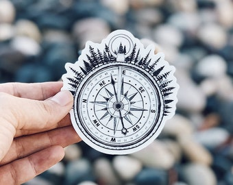 Forested Compass Vinyl Sticker