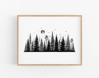 Treescape Line Art Print