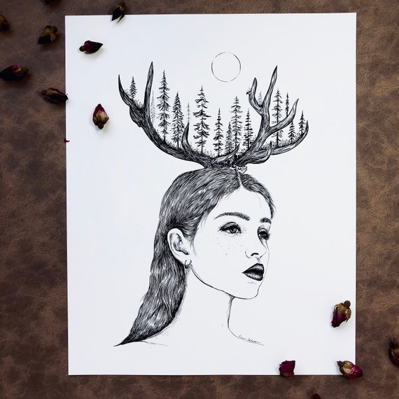 Woman + Antlers