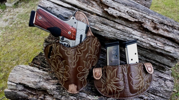 """Leather Shoulder Gun Holster LH RH For 1911 4-4.25/"""" Rail Models"""