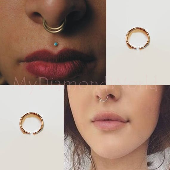 Eco Silver Very Thin Nose Ring 0 6mm 22 Gauge Earring Etsy