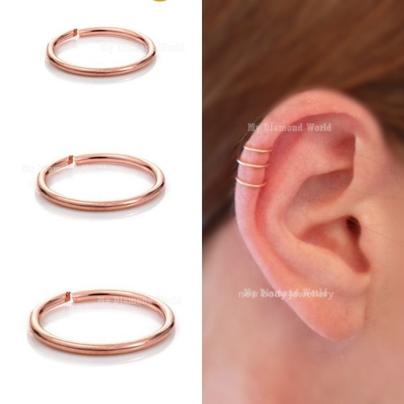 20g 10mm Rose Gold Cartilage Earring Helix Ring Hoop Etsy