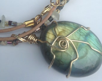 Labradorite Pendant, Ladies Necklace, Pendant Necklace, Semi Precious Stone, Natural, Stone Chips, Leather Cord