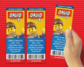 DIY The Lego Ticket Invitation, The Lego Movie 2 Birthday Ticket Invitation, Party Invitation, Birthday Party Ideas, party Invitation