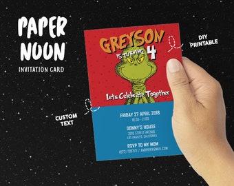 The Grinch Birthday Invitation, Birthday Card Invitation, Party Invitation, For Son