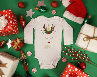 a7ea33bce3e95 Christmas Unicorn Reindeer body suit  Body Suit   Kid s T-shirt