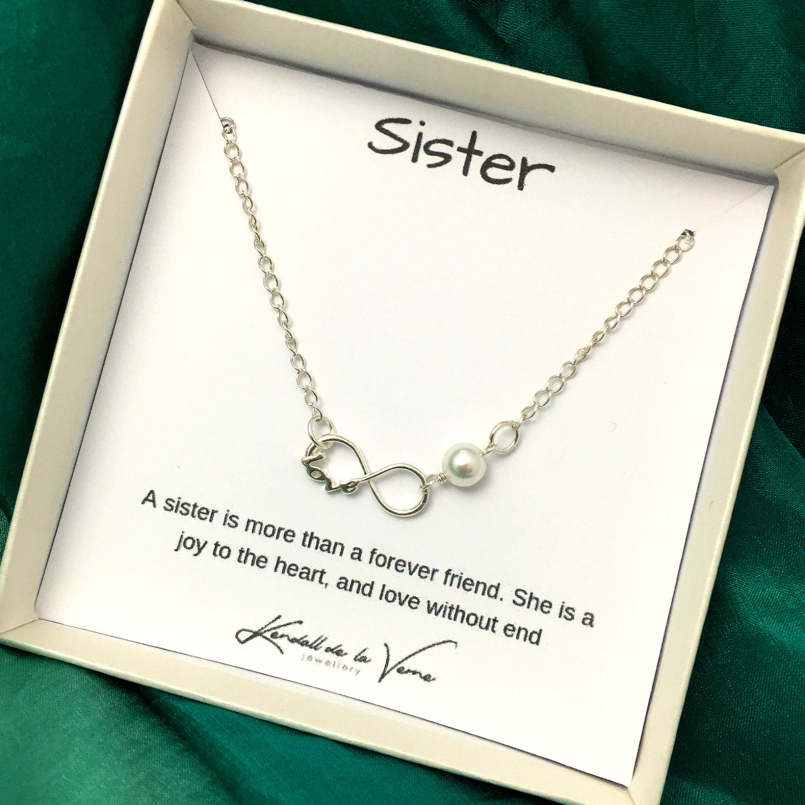 Silver Infinity Charm Necklace in STERLING SILVER CHAIN--Forever Necklace--Pearl Necklace--Perfect gift--Birthday Present for friends