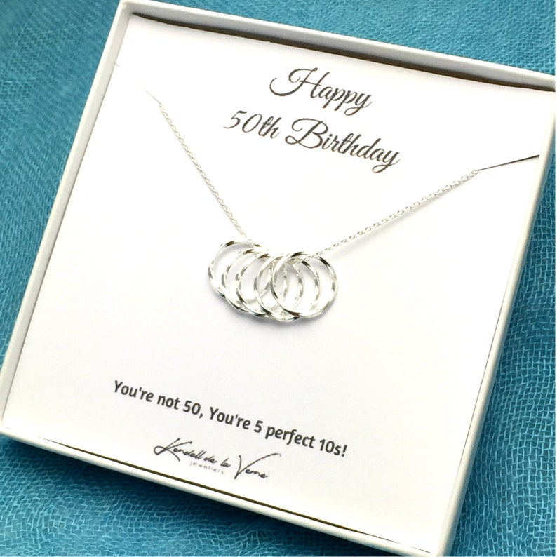 Grandma Mom Friend 50th Birthday Necklace Aunt Gift For Her Five Circles Necklace 50th Birthday Present Sister