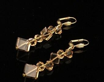 Light Topaz Swarovski Crystal Earrings, Gold Plated Earrings, Gift For Her
