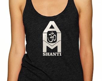 "Style 673 ""AUM Shanti"" Racerback Yoga Activewear Ladies tee"