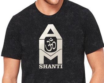 Style 365 AUM Shanti Unisex 100% Cotton Black Mineral Wash Crew Neck Short Sleeve Yoga Activewear Tee