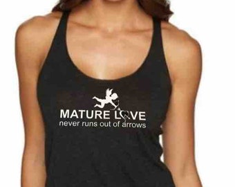 Mature Love - Ladies yoga activewear racer back Style 673 tank with small Logo