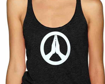 Peace - Namaste - Ladies yoga activewear racer back Style 673 tank with small Logo