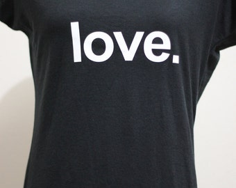 Love. - Ladies yogawear black  tri-blend V-neck yoga activewear Tee- Style 675