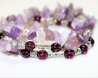 All 3 Amethyst bracelets, glass beads and etched silver beads