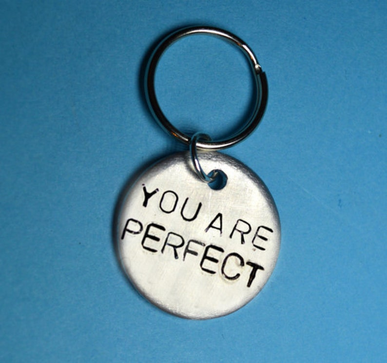 anniversary gift handstamped keyring Anniversary gifts   ideas you are perfect personalised gift custom keychain Inspirational men gift