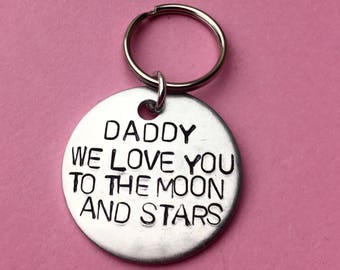 Fathers gift from kids on Sale for Fathers Day, Dad Keychain, Gift for dad,  Retirement Gift for father, We love you to the moon and stars