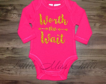 LAST ONE! Pink Size 000 Worth the Wait Onesie
