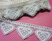 Lace Trim Lovely Heart Cotton Crochet Edge Applique DIY Sewing Craft 1yard 3341