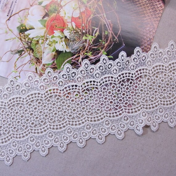 Embroidered Lace Trim 14cm Embroidered Fabric X 1 YARD
