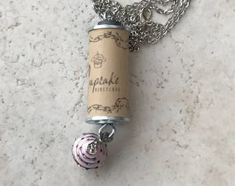 Wine Cork Necklace - Pink Cupcake