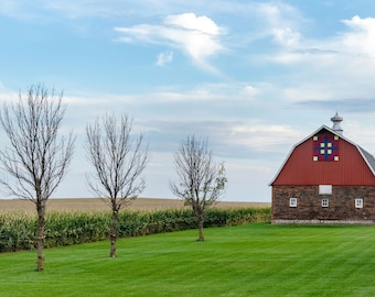 Red Quilt Barn In Rural Grundy County Iowa in Fall - Photography by Eleanor Caputo - Prints - Metals - Canvas Wrap - Greeting Card