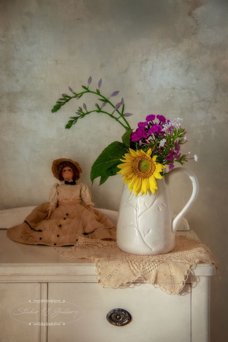 Ceramic Jug  Pink Yellow Wildflowers on White Dresser  image 0