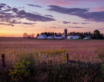 Farming Homestead At Sunset - Tama County Iowa - Photography by Eleanor Caputo - Prints - Metals - Canvas Wrap - Greeting Card