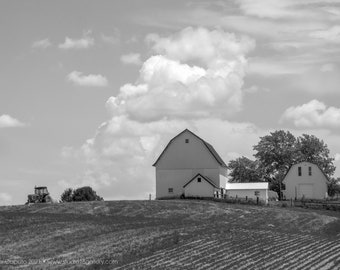 B&W Hilltop Farm and Tractor Jones County Iowa - Photography by Eleanor Caputo - Prints - Metals - Canvas Wrap - Greeting Card