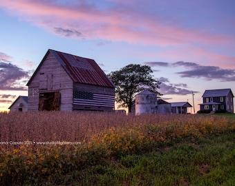 Tiffany's Patriotic Barn at Sunset - Rural Tama County Iowa - Photography by Eleanor Caputo - Prints - Metals - Canvas Wrap - Greeting Card