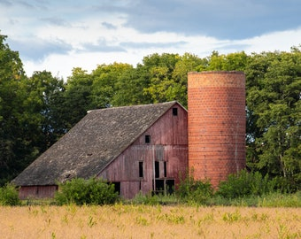 Old Red Barn and Silo - Rural Tama County Iowa - Photography by Eleanor Caputo - Prints - Metals - Canvas Wrap - Greeting Card