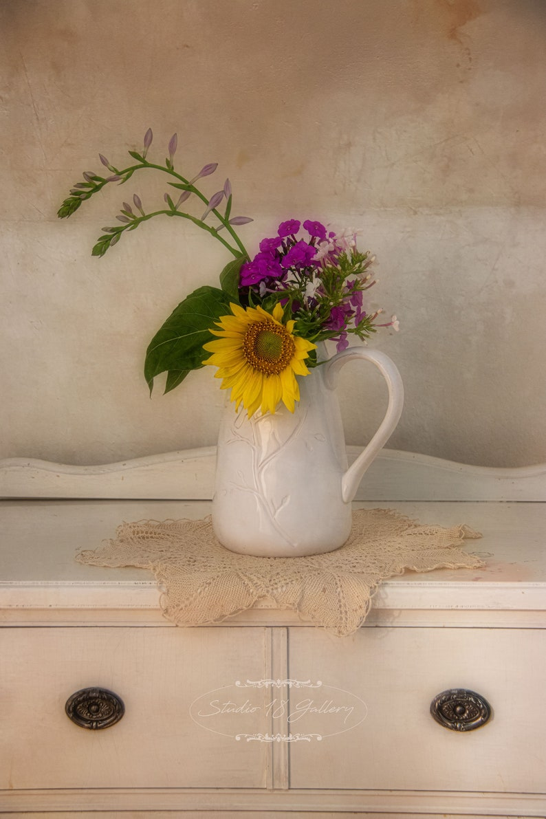 Ceramic Jug with Pink and Yellow Wildflowers  Sunflower  image 0