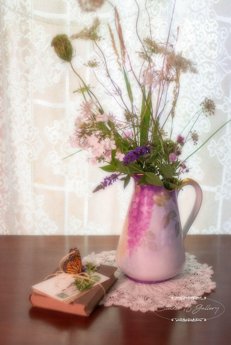 Pitcher Vase with Grapes   Book and Butterfly  Queen image 0