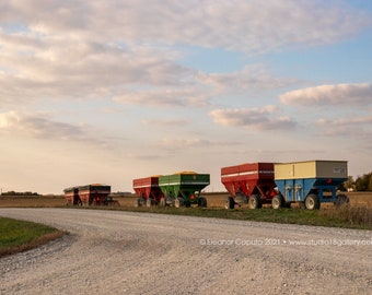 Corn Harvest Wagons In Rural Beaman, Grundy County Iowa - Photography by Eleanor Caputo - Prints - Metals - Canvas Wrap - Greeting Card