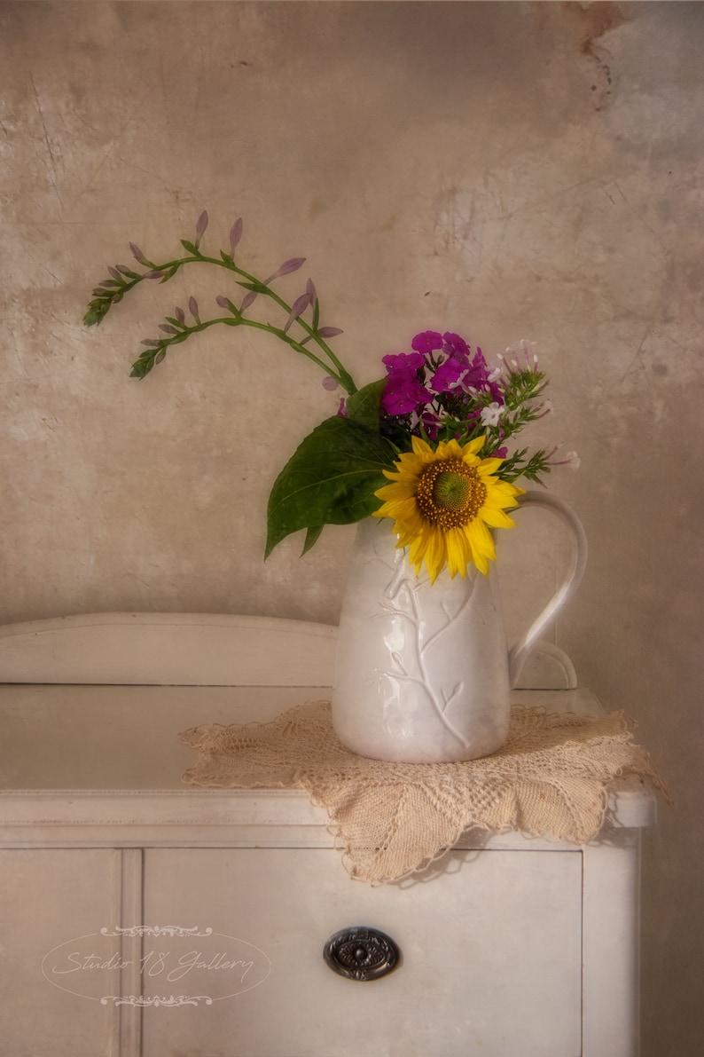 Ceramic Jug  Pink and Yellow Wildflowers on White Dresser  image 0