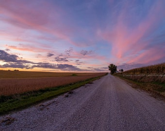 Rural Gravel Road At Sunset - Tama County Iowa - Photography by Eleanor Caputo - Prints - Metals - Canvas Wrap - Greeting Card