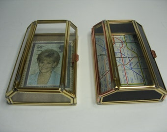 jewellery boxs in glass and brass with picturs or another finishings
