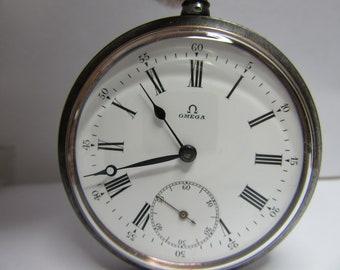 Antique pocket watch omega gun metal