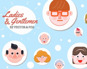 32 Character Face Clip Art, Different Face Overlay, PNG Clipart Commercial Use, Vector Graphics, Various Age Character Avatar, Flat Icons