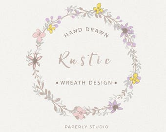 Rustic Wreath Series, Floral Wreath Clip Art, Digital Download Flower Illustration, Florals Graphic, Commercial Use, Botanical Art, PW001