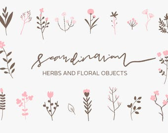 Scandinavian Herbs and Flowers Clip Art, Digital Download Herb Illustration, Plants Graphic, Valentines Day Florals Graphic, Herbal Clip Art
