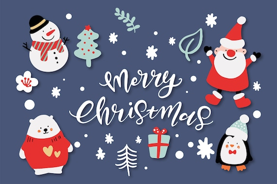 Merry Christmas Characters, Christmas Clip Art, Hand Lettering, Pastel  Holiday graphics, Cute doodle Holiday illustration, Greeting Cards